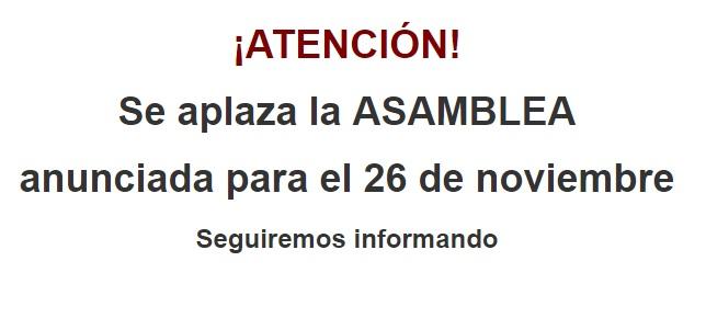 ASAMBLEA APLAZADA