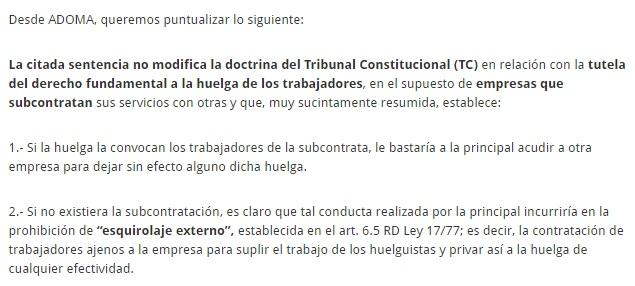 PUNTUALIZACIONES SOBRE LA INCIDENCIA DE  LA SENTENCIA DEL TRIBUNAL SUPREMO, de 16 de noviembre de 2016 (caso Altrad Radisola), en la HUELGA DE DOBLAJE EN MADRID