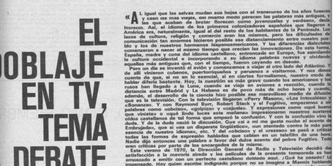 El doblaje en TV, tema a debate. 1970