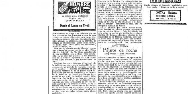 Ritmografía (y la internacionalidad del cine), 1933