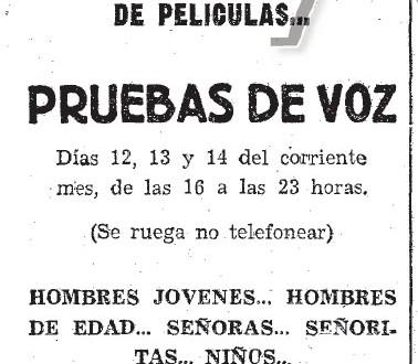 Pruebas de voz en FONO-ESPAÑA (1955)