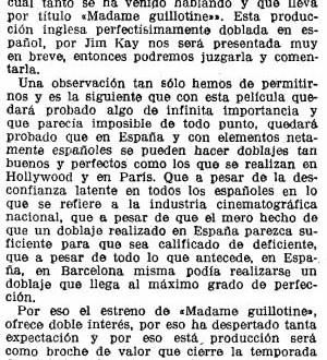 """Madame Guillotine"" (También en España podemos hacer buenos doblajes, 1934)"