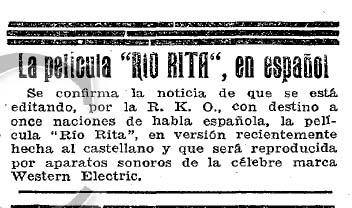 """""""Río Rita"""": la primera (1929)"""