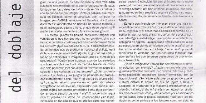 """""""Doblaje y V.O.S.E."""", por Chema Lara"""