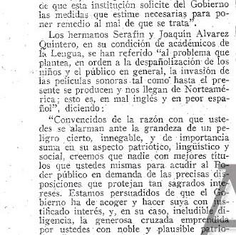 La RAE, los hermanos Álvarez Quintero y las películas habladas (1930)