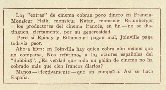Joinville: cien francos diarios.