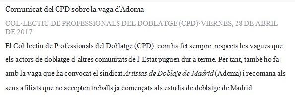 Respuesta de ADOMA al comunicado del CPD sobre la huelga