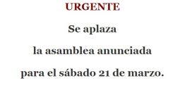URGENTE: ASAMBLEA APLAZADA